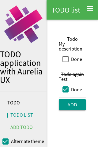 The menu of the application
